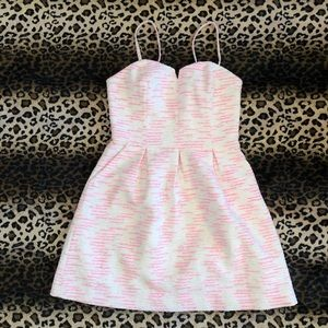 Anthropologie Pink & Silver Sparkle Party Dress